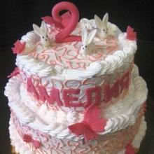 Тортик девочке на 2 годика. Кремовый