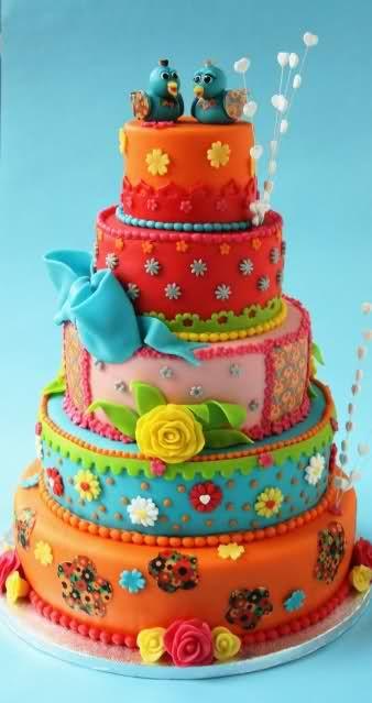 Разноцветные торты фото