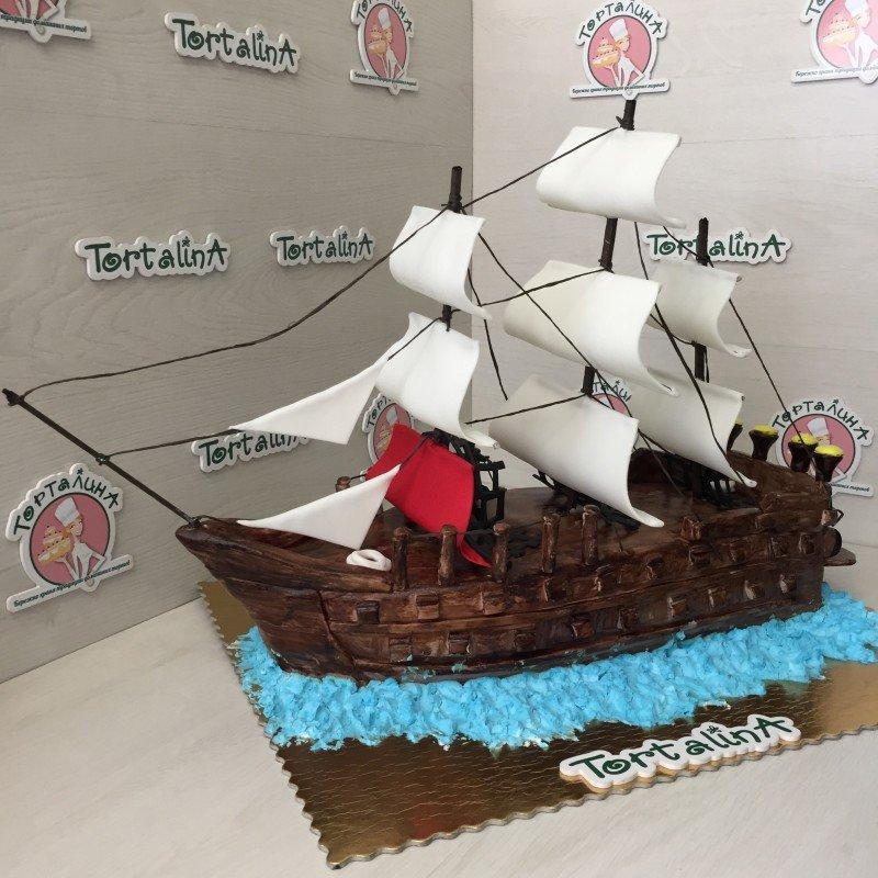 торт парусный корабль