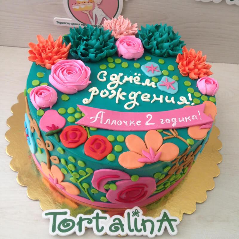 торт в цветами мексиканском стиле