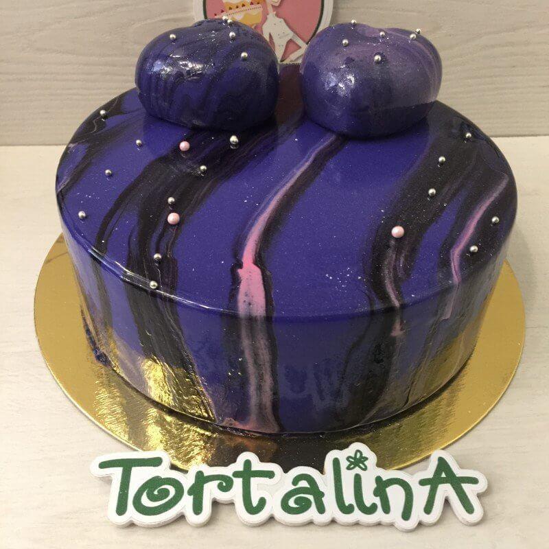 торт муссовый синий с розовым