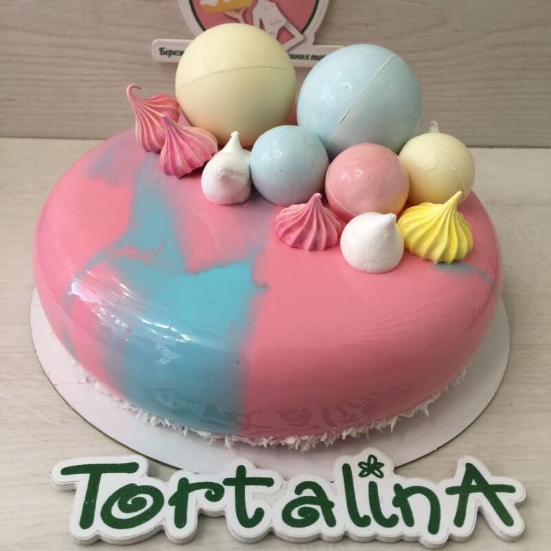 торт муссовый голубой с розовым