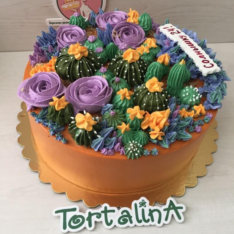 торт в малазийской технике кактусы и розы