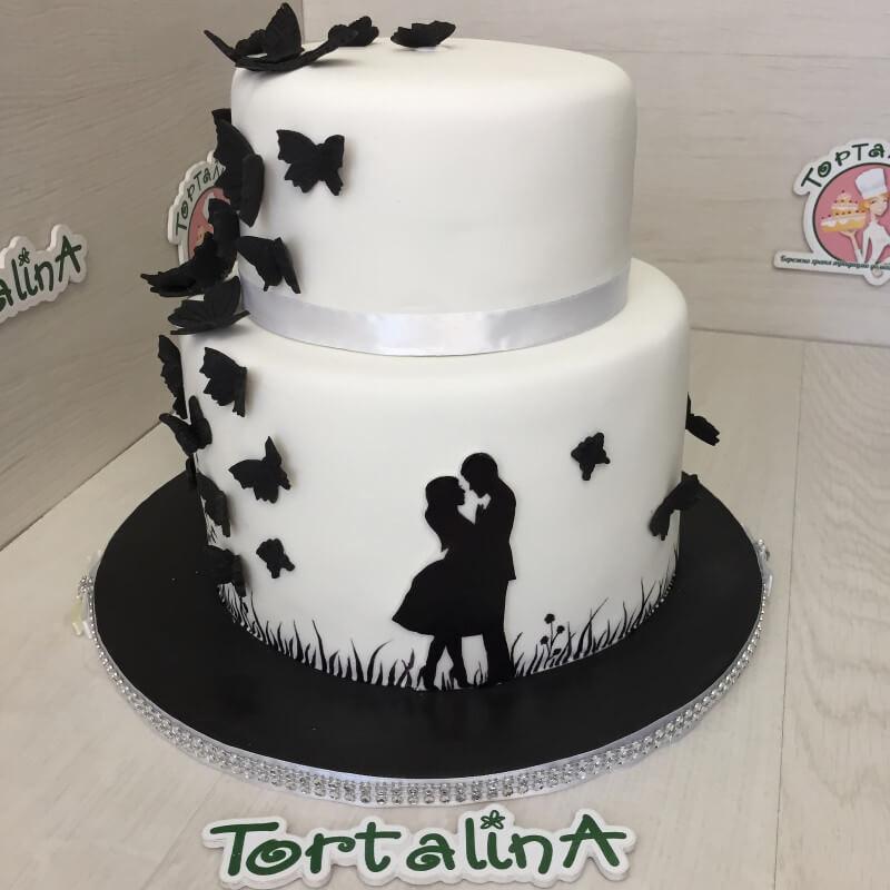 торт свадебный черно белый