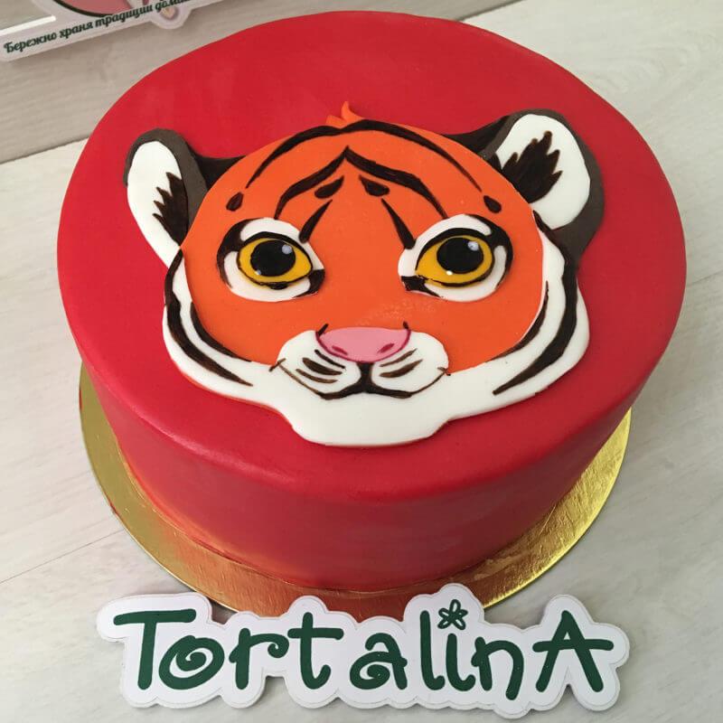 торт с аппликацией тигра