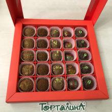 Шоколадные конфеты ручной работы набор 25 в красном