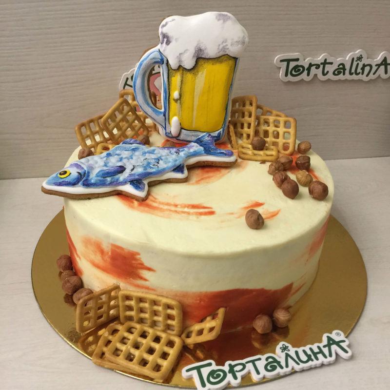 торт с расписным пряником в виде кружки пива