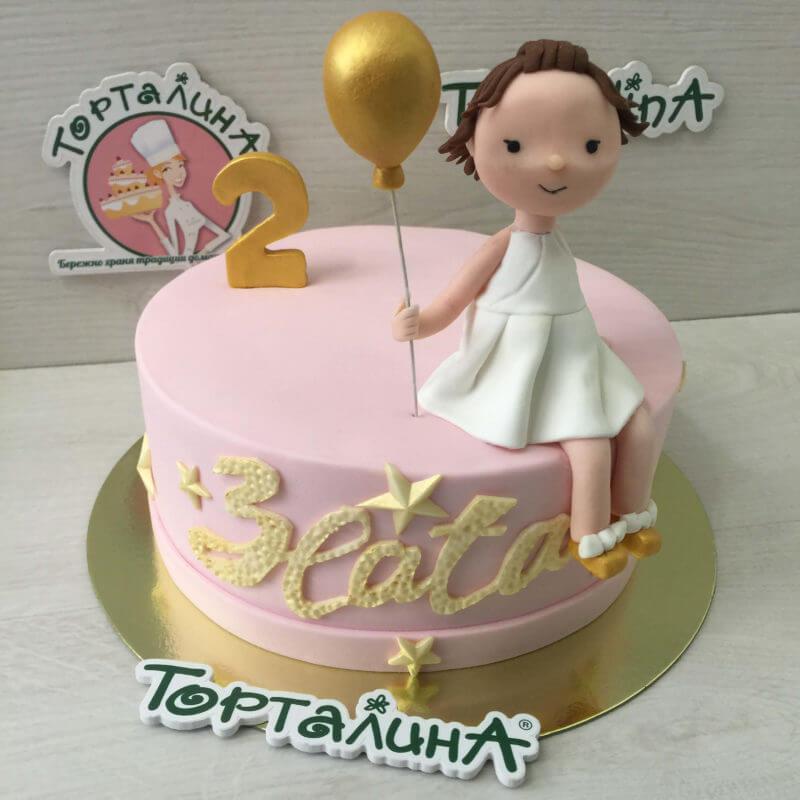 торт девочка с шариком