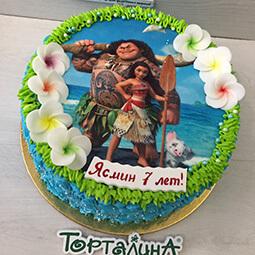 торт с фотографией Моаны