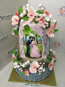 свадебный торт-картина влюбленная пара