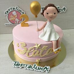 торт с фигуркой девочки с шариком