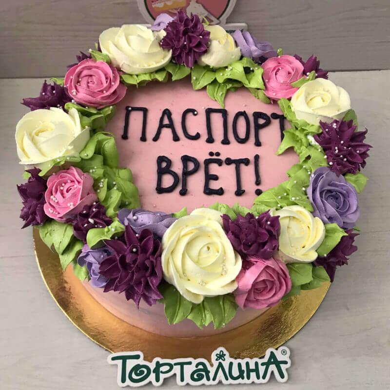 торт с цветами из меренги