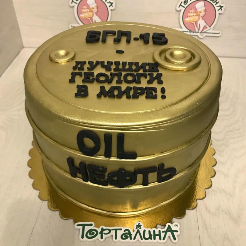торт в форме бочки с нефтью