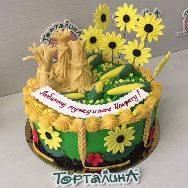 торт с подсолнухами