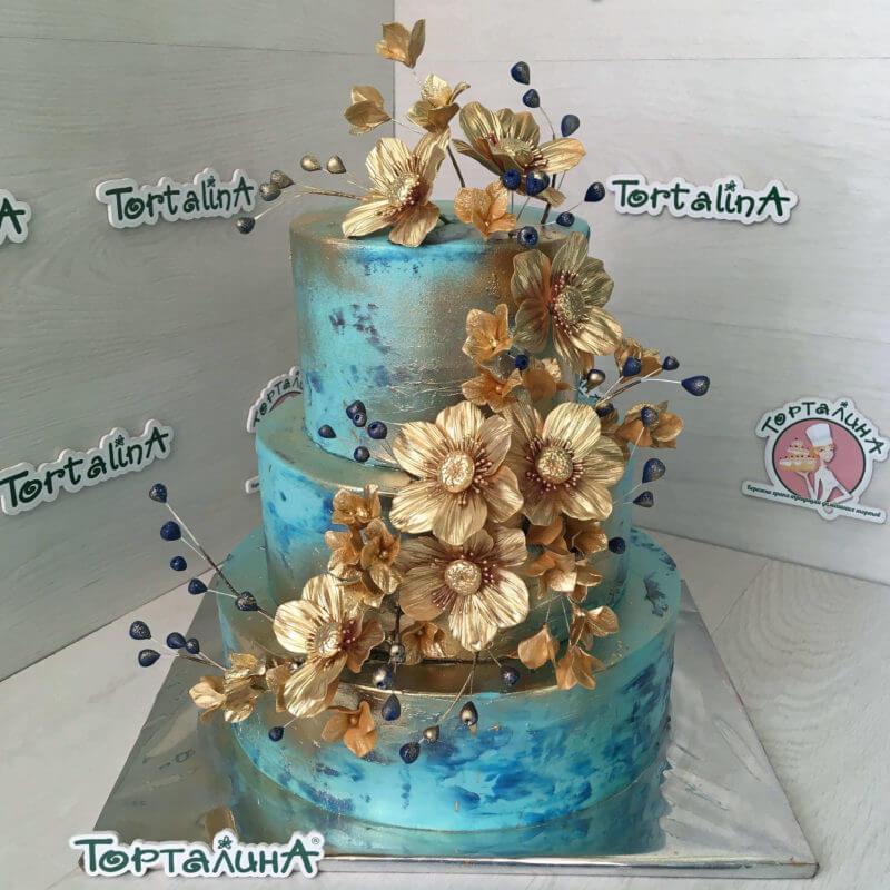 торт свадебный золотые цветы