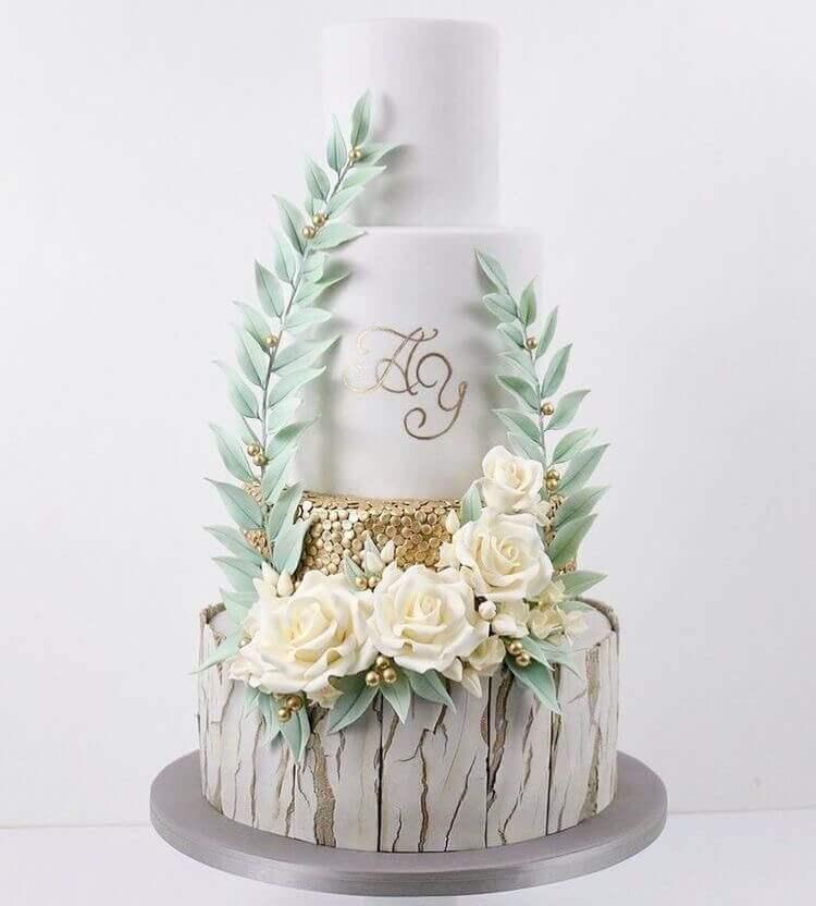 торт свадебный с вензелями