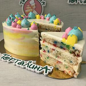 торт конфетти в разрезе