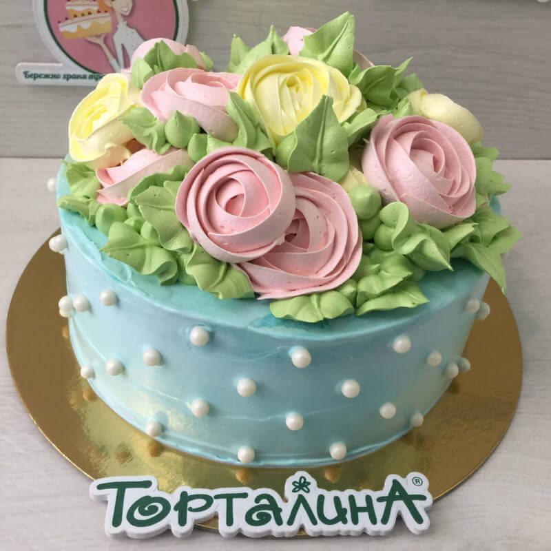 торт с розами в малазийской технике