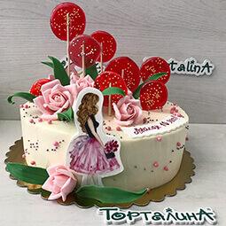 торт кремовый с девочкой и леденцами