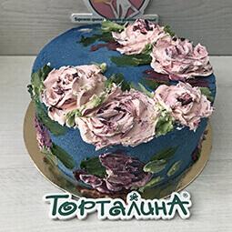 торт картина с цветами