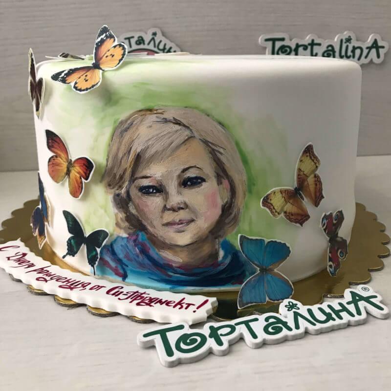 торт картина с портретом женщины