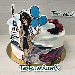 торт картина с девушка в Париже