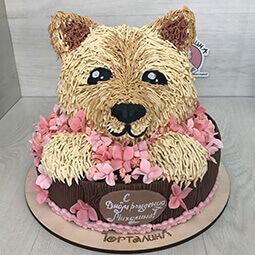 кремовый торт голова собачки