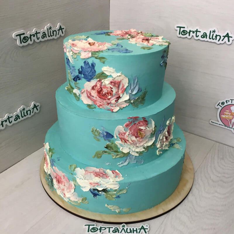торт свадебный с нарисованными кремом цветами