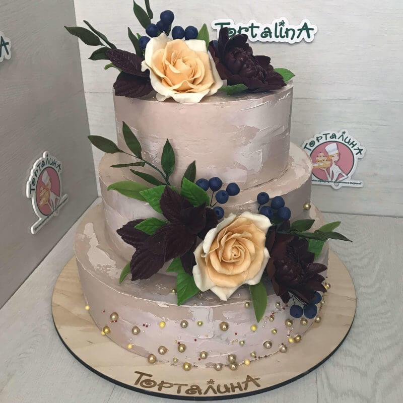 торт свадебный цвета какао