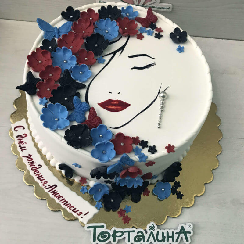 торт с силуэтом девушки