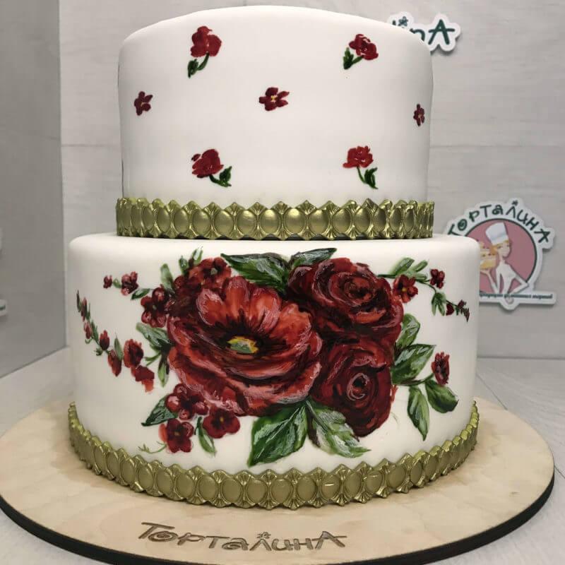 свадебный торт - картина два яруса