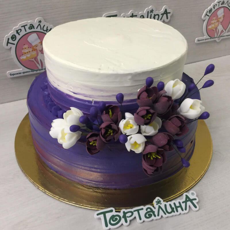 торт свадебный фиолетовый