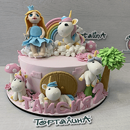 торт с принцессой и единорогами