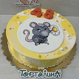 торт муссовый с нарисованной мышкой