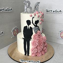 торт свадебный два яруса с женихом и невестой