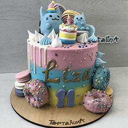 торт детский с кошечками и пончиками