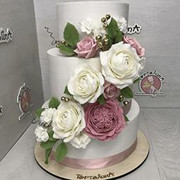 торт свадебный с огромными розами