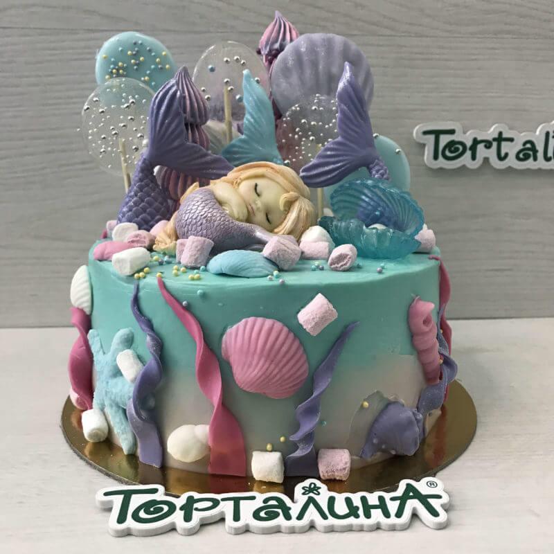 торт детский с шоколадной русалочкой