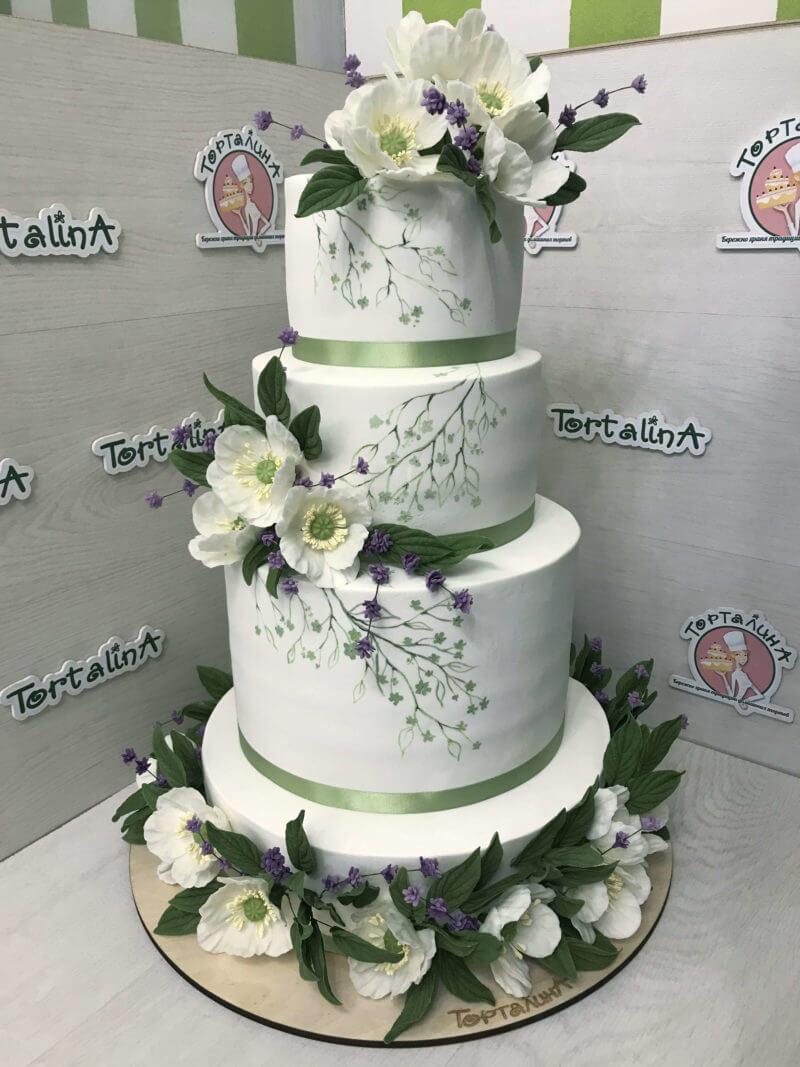 торт свадебный четыре яруса с морозником
