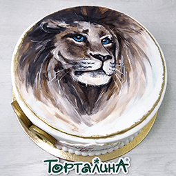 торт картина со львом