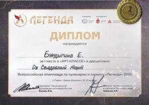 диплом 1 место на Всероссийском конкурсе кондитеров