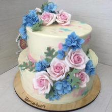 Розовые и голубые цветы. Авторский