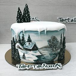 торт картина зимняя избушка