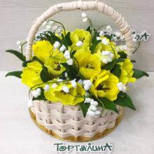 Корзинка с тюльпанами. Премиум