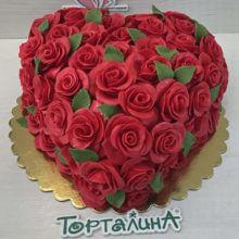 Сердце из алых роз. Премиум