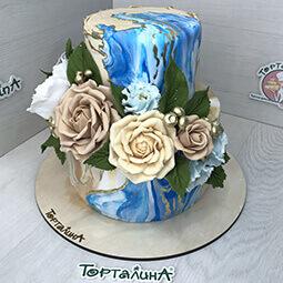 торт свадебный два яруса в раскраске абстракция