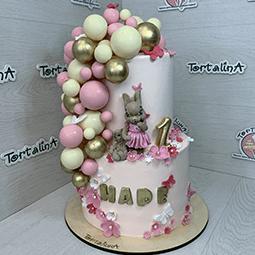 торт детский двух ярусный с шоколадной зайкой